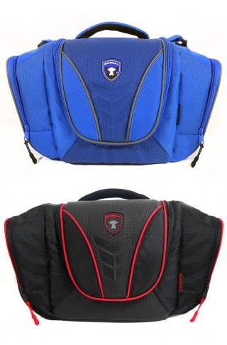 maleta azul con gris, maleta negro con rojo