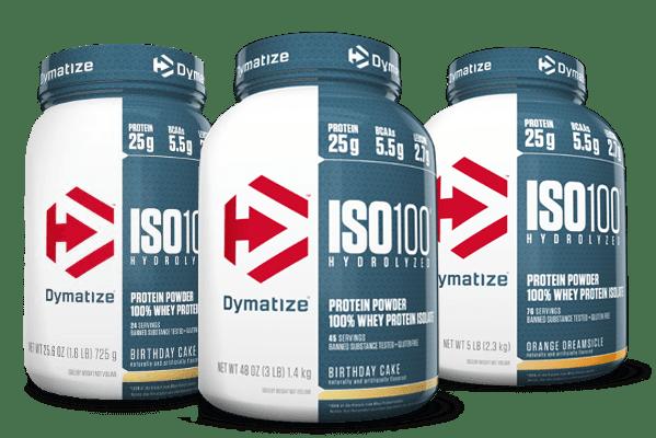 Dymatize ISO-100. Hydrolyzed. 100% Whey Protein Isolate Bottle