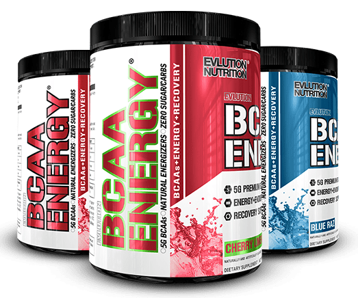 BCAA ENERGY bottles by EVLUTION NUTRITION