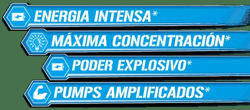 Energía intensa, máxima concentración, poder explosivo, pumps amplificados
