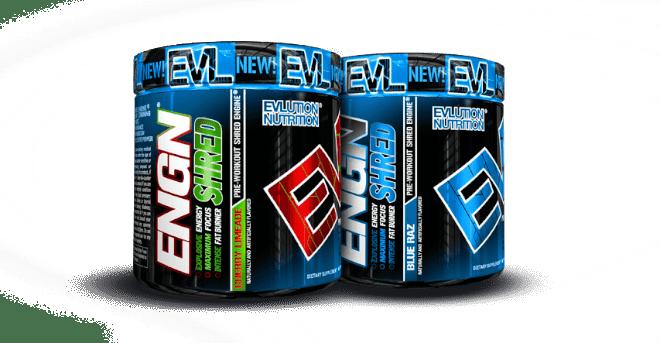 ENGN Shred PRE-WORKOUT ENGINE bottles by EVLUTION NUTRITION