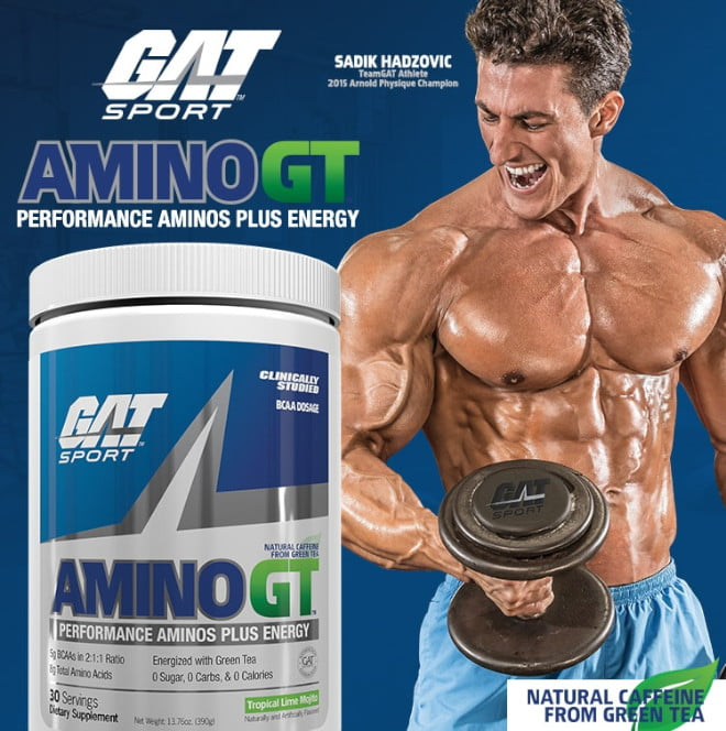 GAT Sport. AminoGT. Performance Aminos Plus Energy. Sadik Hadzovic. TeamGAT Athlete. 2015 Arnold Champion. Natural Caffeine from Green Tea.