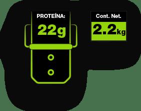 22g proteína, contenido neto 2.2kg