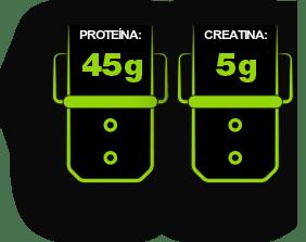 45g proteína, 5g Creatina
