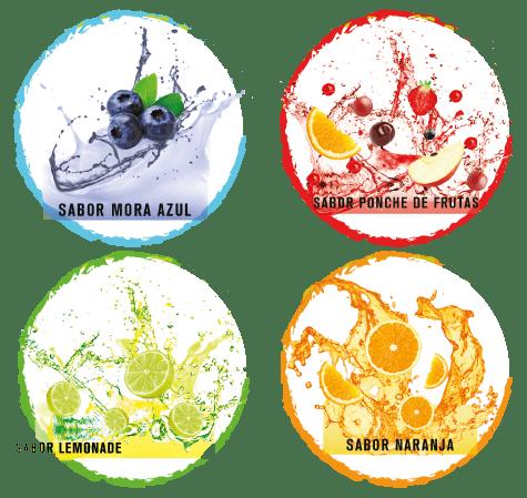 4 sabores: Mora azul, Ponche de frutas, Lemonade, Naranja