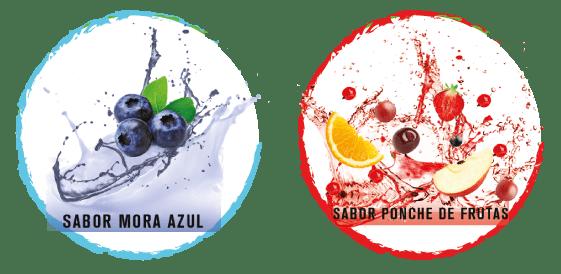 2 sabores: Mora azul, Ponche de frutas