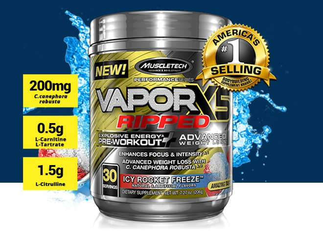 MuscleTech Vapor X5 Ripped. 200mg C.canephora robusta. 0.5g L-Carnitine L-Tartrate. 1.5g L-Citrulline.