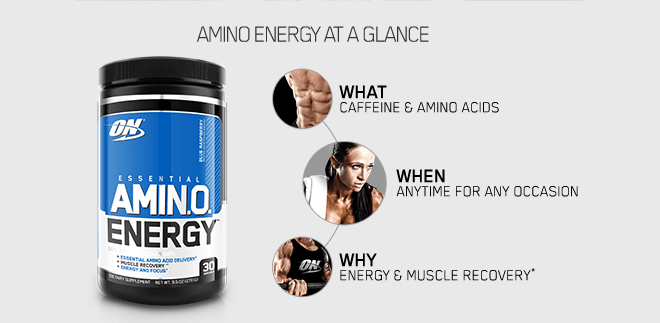 Amino Energy at a glance. What: Caffeine and Amino Acids. When: Anytime, for any occasion. Why: High Quality Food Supplement.